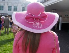 Pink Monogrammed Hat with Bow