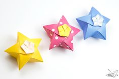 Super adorable origami inflatable stars! ⭐️ Origami Twinkle Star Tutorial – Puffy Stars