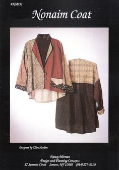 The Nonaim Coat is a loose fitting, flared back, unlined garment with finished French seams. It is an elegant compliment for any skirt or pant in y...