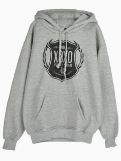 Shop XOXO Logo Print Gray Hoodie With No.88 Back from choies.com .Free shipping Worldwide.