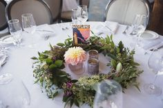 A centerpiece can be as simple as using various candle holders arranged together. So beautiful! Photography by Matt Kennedy Photography