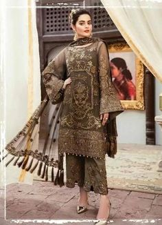 Imrozia Grandeur Ecstasy Luxury Eid Chiffon Collection 2019 – 702 The Aurum Entourage - Pakistani dresses Pakistani Party Wear Dresses, Pakistani Dress Design, Pakistani Designers, Pakistani Outfits, Pakistani Kurta Designs, Pakistani Clothing, Eid Dresses, Fashion Dresses, Pakistani Fashion Casual