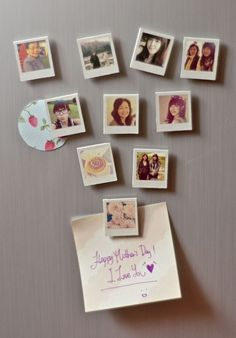 Instagram meets the kitchen fridge with these cute magnetic photo squares. Give Mom a few to play with, so she can arrange a new collage every day. Get the tutorial at Sundaesins »  - GoodHousekeeping.com