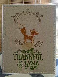 Stampin' Up thankful forest friends stamps, My Favorite Things inks