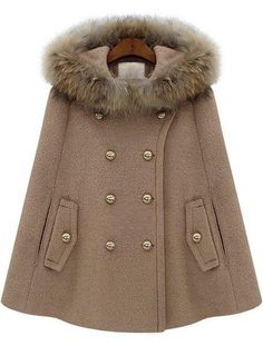 Coats Camel Tweed Hooded Fashion Double Breasted Short Winter Outerwear, size features are