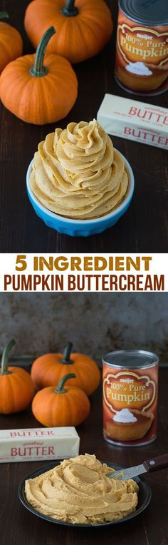 How to make pumpkin buttercream frosting, with only 5 ingredients! Fall/Autumn/Halloween/Thanksgiving dessert topping idea. Best pins in fall desserts.