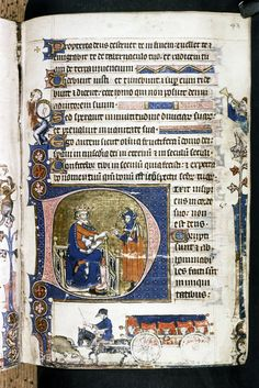 Medieval Covered Wagon from 14th century English Psalter.  MS. Douce 131. A Psalter made in East Anglia.