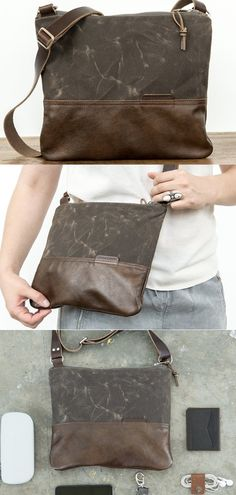 61f2102f153f Waxed Canvas and Leather Zip-Top Day Bag Bark Brown