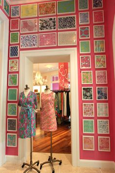 King of Prussia, PA Retail store - PRINTS wall!!! Bebe'!!! Lovely wall decor...framed fabric samples!!!