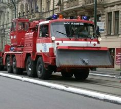 Fire truck with snow plow