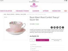 Royal Albert rose confetti teacup and saucer set