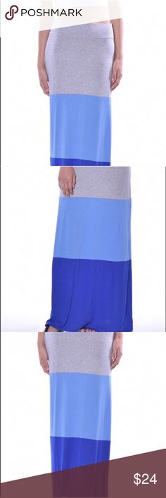 NEW Color block Maxi skirts w/ blue and gray color ♥ NEW color block maxi skirt with gray, light blue, and royal blue colors! Multiple sizes available! Love this skirt!  ♥ 96 % rayon and 4% spandex. Made in USA 😊 Skirts Maxi