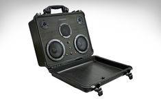 Pelican's briefcases are virtually indestructible. That's why theBlack Pelican BoomCase was built insideone, making for a sound system that's more rugged than BoomCase's traditional offerings while remaining just as portable. Closed, the speaker system is completely protected against bumps and even water, and open it's still more durable than your average speaker system thanks to grilles over the drivers. Inside a 100 Watt amp powers...