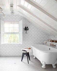 Do you dream of building a cabin in the woods? You'll love this roundup of modern rustic décor ideas that will make you want to relocate, stat. Small Attic Bathroom, Bathroom Makeover, Building A Cabin, Classic White Bathrooms, Modern Rustic Decor, Bathrooms Remodel, Bathroom Design, Rustic Bedroom, Rustic House