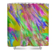 """Green pink and blue abstract design on shower curtains. These curtains are made from 100% polyester fabric and include 12 holes at the top of curtain for simple hanging from your own rings. Shower curtains are 71"""" wide by 74"""" tall....."""