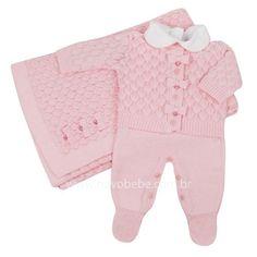 97e27891fae62 Saída de Maternidade de Bebê em Tricot Escamas com Swarovski - Rosa - Petit  Mouton