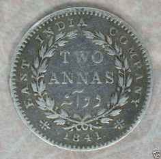 British East India Company 2 Annas silver coin, 1841.