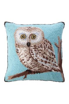 """Owl Hook Pillow Blue Background. Wool yarn on the front cover in a hook style and cotton fabric on the back. There is a hidden zipper on the back for easy cleaning, dry clean recommended. A poly filled insert is included with pillow.    Measures: 18"""" x 18""""   Owl Hook Pillow by Peking Handicraft. Home & Gifts - Home Decor - Pillows & Throws Pennsylvania"""