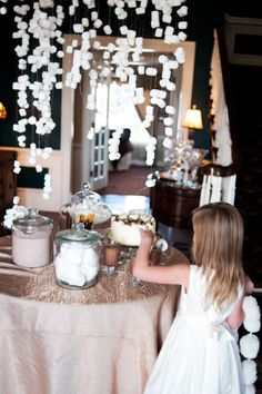 hot chocolate bar! LOVE the marshmallows as snow!