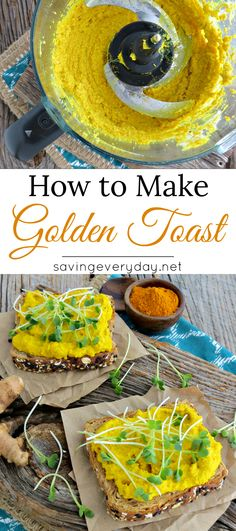 When it comes to egg salad, most people either love it or hate it. I'm in the love it camp, and this golden toast recipe was inspired by my love of egg salad and turmeric! Brunch Recipes, Gourmet Recipes, Breakfast Recipes, Vegetarian Recipes, Cooking Recipes, Healthy Recipes, Burger Recipes, Breakfast Ideas, Yummy Recipes