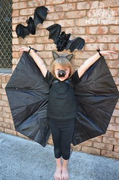 Pin for Later: 21 DIY Kids' Halloween Costumes Recycled From Things You Already Have Umbrella Bat Wings Do you have a broken umbrella you've been meaning to toss? Instead, simply cut it in half, add two hair ties, and you're done!
