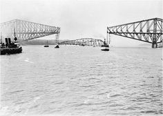 """greatwar-1914: """"September 11, 1916 - Bridge Collapse in Quebec Kills 13, German Sabotage Blamed Pictured - The collapsed span of the bridge immediately following the accident. The Quebec bridge, a steel railway and pedestrian bridge spanning the St...."""