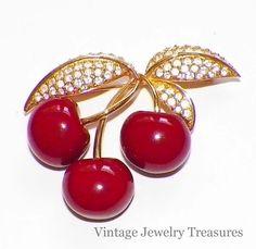 QVC JOAN RIVERS Red Cherries Crystal Gold Tone Pin #JoanRivers