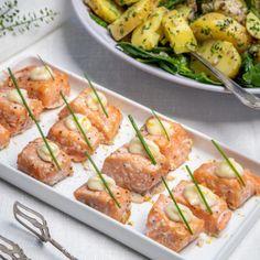Rökiga laxkuber med citronaioli - Recept - Tasteline.com Fish And Seafood, Zucchini, Food And Drink, Yummy Food, Baking, Dinner, Vegetables, Eat, Tips