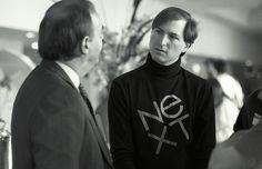 "Steve Jobs with his ""NeXT"" company turtleneck. Bill Gates Steve Jobs, All About Steve, Steve Jobs Apple, Next Company, Ronald Wayne, Steve Wozniak, Elephant Images, Job Info, Branding"