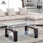 Wood Walnut Rectangular Glass Coffee Table Shelf Chrome Living Room Furniture