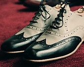 Black and light grey Half Brogue - Handmade Leather Shoes