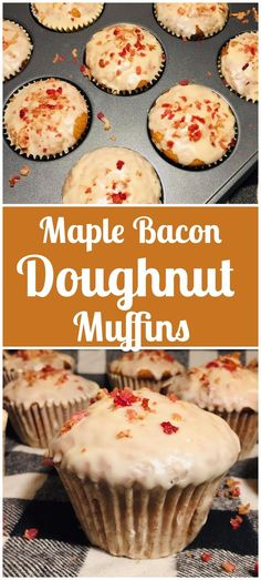 Maple Bacon Doughnut Muffins Donut Muffins, Bacon Muffins, Bacon Recipes, Donut Recipes, Muffin Recipes, Sweet Recipes, Easy Recipes, Maple Bacon Donut, Maple Bacon Cupcakes