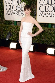 Golden Globe winner Anne Hathaway is statuesque in white Chanel couture