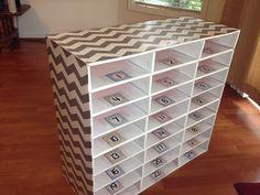 Up cycle cardboard mailbox- DIY Chevron Classroom Mailbox Student Mailboxes, Classroom Mailboxes, Classroom Cubbies, Chevron Classroom, Classroom Layout, 4th Grade Classroom, New Classroom, Classroom Design, Preschool Classroom