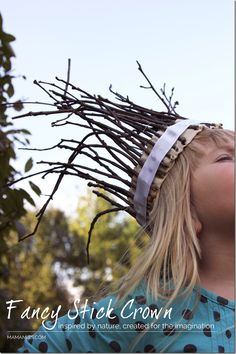 Fancy Stick Crown - use cardboard for the head wrap Part and paint the sticks; a craft to go along with the Julia Donaldson book, Stick Man - inspired by nature, created for the imagination Forest School Activities, Nature Activities, Outdoor Activities, Activities For Kids, Crafts For Kids, Kids Diy, Kids Nature Crafts, Jar Crafts, Learning Activities