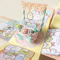 A cute cheerful and sweet box card for birthday or wedding using  cardstock, pattern paper, pom pom, die cut, stamp, handmade flower etc.It measures 4 inches by 4 inches. It can be custom colors and theme.This listing consist :- pastel thanks sumikko gurashi theme- a cake with thanks in the center - 2 layers- 1 message slot- 1 photo slot Chat to offer me if you need any customisation of cards, tags, album :)Thank you for viewing my listing!To search for all my Boxcard design: keyword…