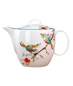 "Simply Fine Lenox ""Chirp"" Teapot  ~  Bone china to suit your lifestyle: This pot, w/ its cheerful design, is completely dishwasher safe & chip resistant.  To buy: $120 lenox.com."