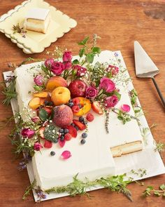 How to Make a Wedding Cake from a Grocery Sheet Cake | Kitchn Supplies Sheet cake in desired flavor Fresh herbs — thyme, rosemary, mint, and lavender work best Fresh stone fruit, strawberries Spray roses Baby's breath Powdered sugar Edge cake with herbs. Top center with a pile of apricots, peaches, strawberries, and raspberries. Stud with spray roses and baby's breath. Dust with powdered sugar.
