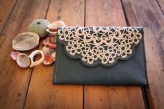leather iphone purse with vintage doily