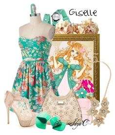 """Giselle - Spring - Disney's Enchanted"" by rubytyra ❤ liked on Polyvore featuring Xhilaration, eliurpi, Marc Jacobs, Lipsy, Design + Conquer, Spring, disney, disneybound and enchanted"