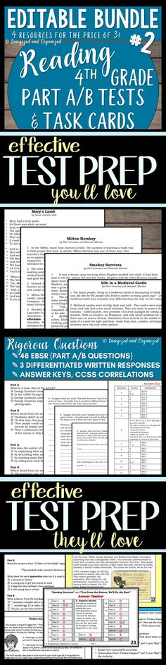 Reading/Writing/ELA Test Prep Task Cards and Assessments (4th grade level): Teachers, get your students ready for state testing with this Common Core aligned product! (4 EDITABLE practice tests with 4 sets of task cards) You'll be sooooo glad when your students are relaxed on test day and when their scores show they were ready!