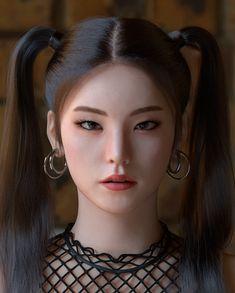 A portrait of Hwang ye Ji, the member of K-pop Idol group 'ITZY'. Aesthetic Drawing, Aesthetic Gif, Thailand Tattoo, Exo Fan Art, Ulzzang, Magic Symbols, 3d Girl, Digital Art Girl, Pop Idol