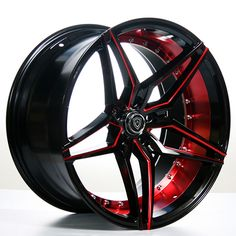 "20"" MQ Wheels 3259 Black W Red Inner Rims *Deep Concave (Reg $1499)   #AudioCity"