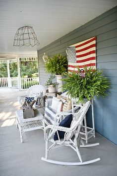 Farmhouse Patriotic Porch - Happy Fourth Of July! -