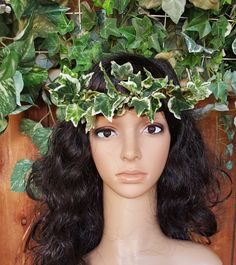 Ivy is the perfect name for this floral hair wreath, the crown is silk ivy intertwined on a natural bark wire.   So unique, you'll be the center of attention.    This flowe... #brides #wedding #haircrown #festival #cosplay #rusticwedding #flowerhalo