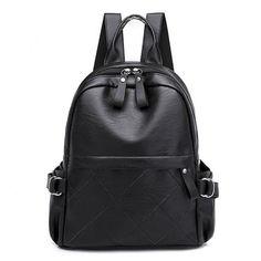 Waterproof backpack women PU leather solid black College girl back pack  school bag female bagpack 2019. Cool Backpacks For GirlsCute ... 4fa3c5948818f