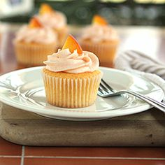 Fresh Peach Cupcakes #foodgawker