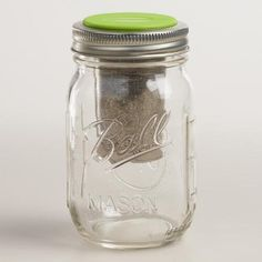 """Jarware Regular-Mouth Mason Jar Tea Infuser - Attach this innovative Jarware lid to any regular mason jar to transform it into a tea tumbler with a loose-leaf infuser. DETAILS & DIMENSIONS Made of metal and BPA-free plastic Fits regular-mouth mason jars Explore our Mason Jar Shop Available in additional styles, sold separately Dishwasher safe Made in United States Package: 3.9""""W x 9""""H"""