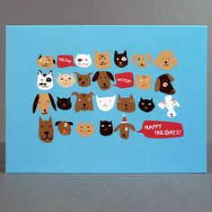Cute dog and cat Christmas card from Egg Press, available at The Curious Pancake.