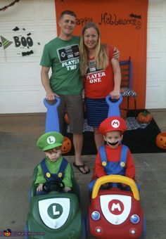 Laura: For this family costume I bought my boys the Mario and Luigi costumes. I spray painted their push cars and painted the L and the M on the front to...
